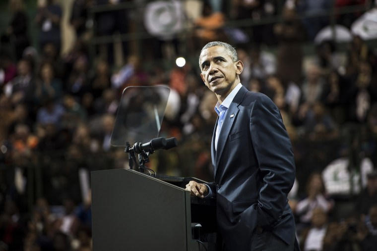 President Barack Obama pauses while speaking during an event on Oct. 19, 2014 in Chicago, Illinois. (Photo by Brendan Smialowski/AFP/Getty)