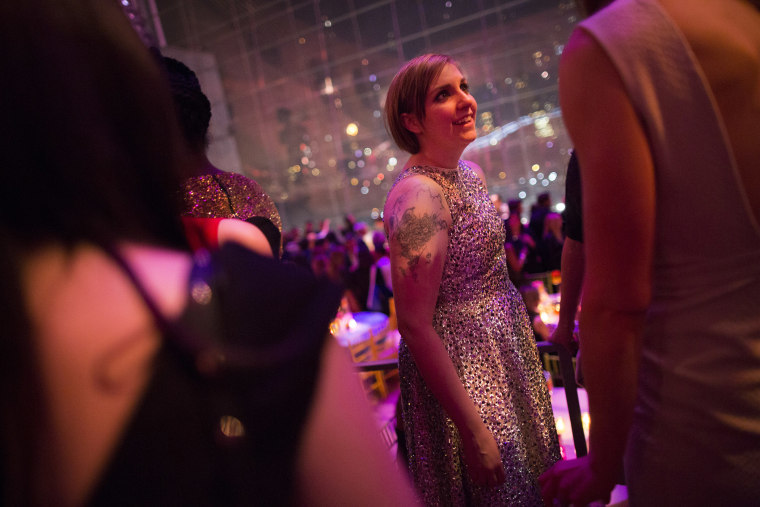 """Lena Dunham, creator and star of the HBO series \""""Girls,\"""" at the afterparty for the show's third-season premiere in New York, Jan. 6, 2014. (Photo by Elizabeth D. Herman/The New York Times/Redux)"""