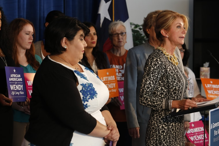 Gubernatorial Democratic candidate and Texas State Senator Wendy Davis speaks about a recent Supreme Court ruling on easing HB2, a Texas state abortion law, on Oct. 16, 2014. (Eric Kayne/Getty)