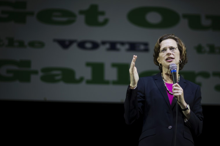 Democratic U.S. Senate candidate Michelle Nunn speaks at a rally encouraging early voting, Oct. 27, 2014, in Decatur, Ga. (Photo by David Goldman/AP)
