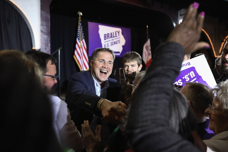 U.S. Senate Democratic candidate Rep. Bruce Braley greets supporters during a fundraising event at the Electric Park Ballroom on Nov. 1, 2014 in Waterloo, Iowa. (Chip Somodevilla/Getty)
