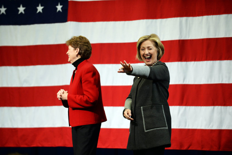 Former U.S. Secretary of State Hillary Clinton (R) campaigns with U.S. Senator Jeanne Shaheen on Nov. 2, 2014 in Nashua, N.H.