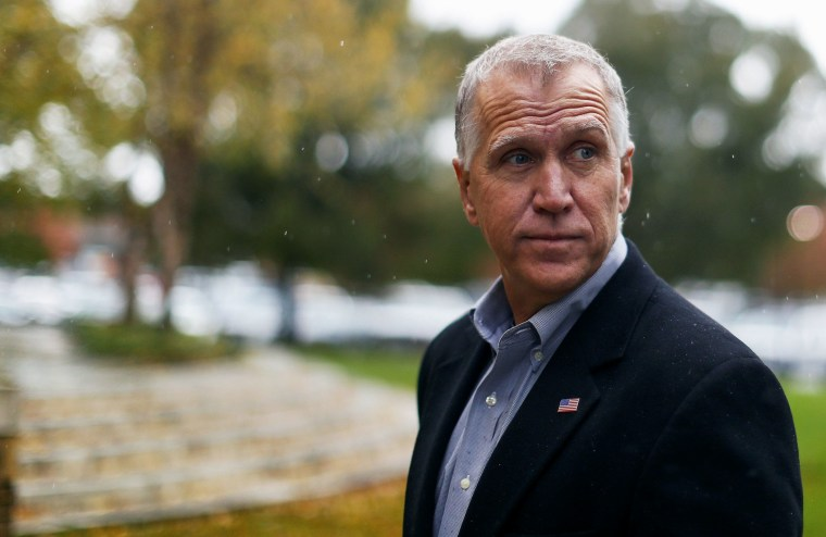Candidate for U.S. Senate Thom Tillis at an early voting location in Cornelius, N.C. on Nov. 1, 2014.