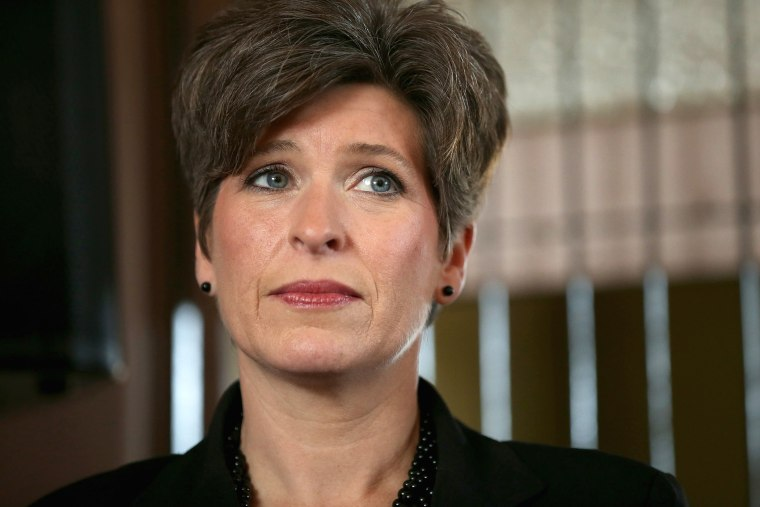 Republican U.S. Senate candidate Joni Ernst attends a campaign stop at the Amtrak Osceola Train Depot on Nov. 2, 2014 in Osceola, Iowa. (Photo by Chip Somodevilla/Getty)