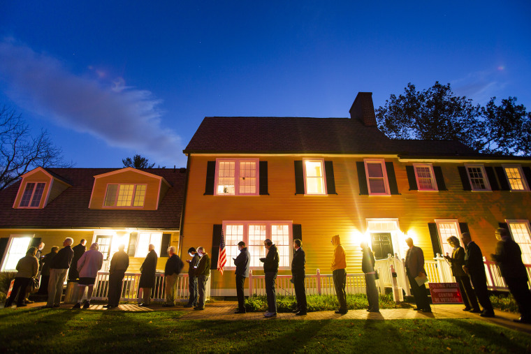 Virginia residents wait in line in the pre-dawn hours to vote in the 2014 US midterm elections at a historic property called the Hunter House at Nottoway Park in Vienna, Va, on Nov. 4, 2014. (Photo by Jim Lo Scalzo/EPA)