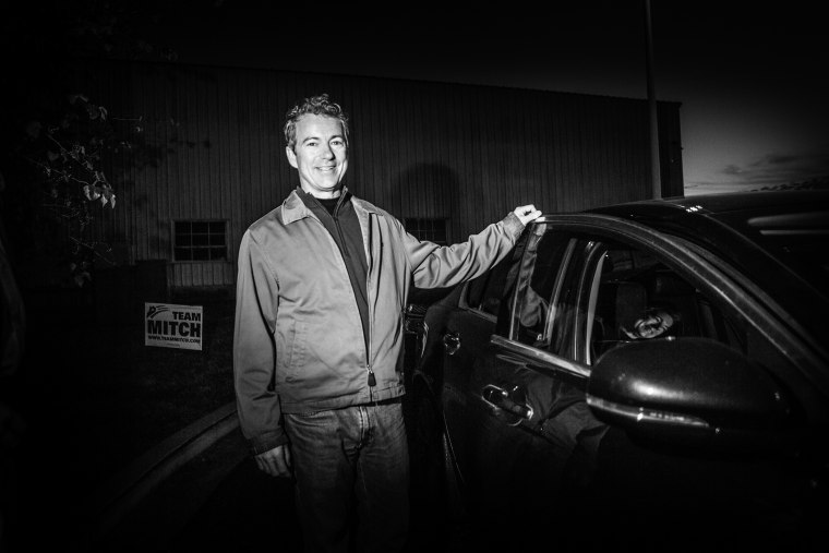 Sen. Rand Paul, (R-KY) in Louisville, Ky., campaigning for Sen. Mitch McConnell (R-KY) on Nov. 3, 2014.