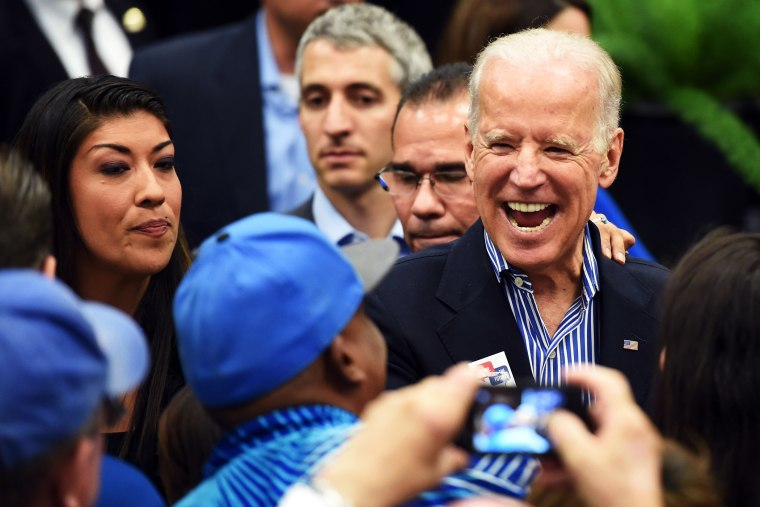U.S. Vice President Joe Biden reacts as he greets supporters on Nov. 1, 2014 in Las Vegas, Nev.