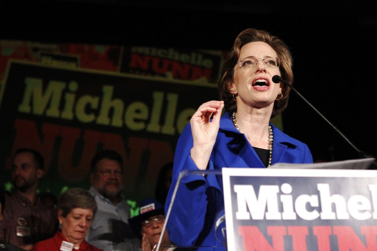 Georgia Senate candidate, Democrat Michelle Nunn speaks to the crowd after conceding to Republican candidate David Perdue after the results of the U.S. midterm elections race in Atlanta, Ga., on Nov. 4, 2014. (Photo by Tami Chappell/Reuters)