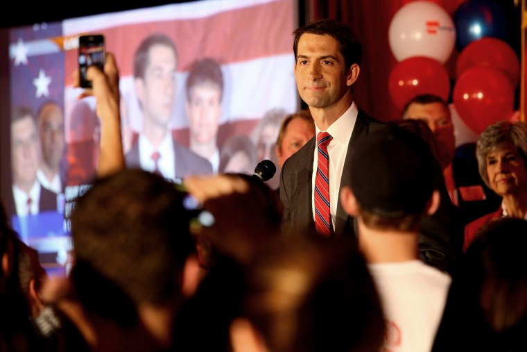 Republican Tom Cotton speaks after the results of the midterm elections in North Little Rock, Ark. on Nov. 4, 2014.