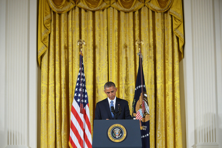 US President Barack Obama speaks during a press conference in the East Room of the White House on Nov. 5, 2014 in Washington, DC.