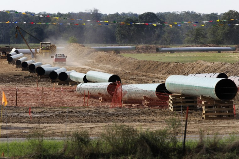 Large sections of pipe are shown in Sumner, Texas on Oct. 4, 2012. Safety regulators have quietly placed two extra conditions on construction of TransCanada Corp.'s Keystone XL oil pipeline after learning of potentially dangerous construction defects invo