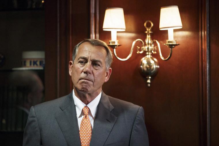 House Speaker John Boehner of Ohio waits to speak on Capitol Hill in Washington, D.C. on, Sept. 9, 2014.