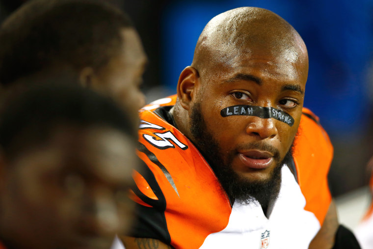 Devon Still #75 of the Cincinnati Bengals looks on during the fourth quarter against the New England Patriots at Gillette Stadium on Oct. 5, 2014 in Foxboro, Mass. (Photo by Jared Wickerham/Getty)