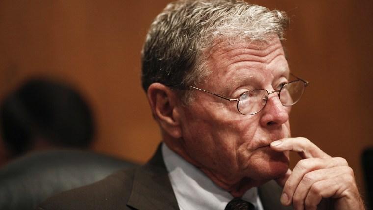 James Inhofe (R-Okla.) listens during a hearing on Capitol Hill in Washington, June 13, 2012. (Photo by Luke Sharrett/The New York Times/Redux)