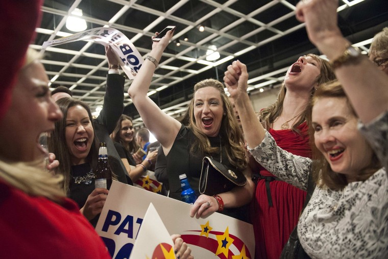 Supporters of Republican Pat Roberts react to announcements of the midterm elections results in Topeka, Kan. on Nov. 4, 2014. (Mark Kauzlarich/Reuters)