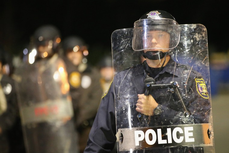 Police face off with demonstrators on Oct. 22, 2014 in Ferguson, Mo. (Scott Olson/Getty)