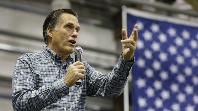 Former Republican presidential candidate Mitt Romney speaks at a campaign rally on Nov. 3, 2014, in Anchorage Ala. (Ted S. Warren/AP)