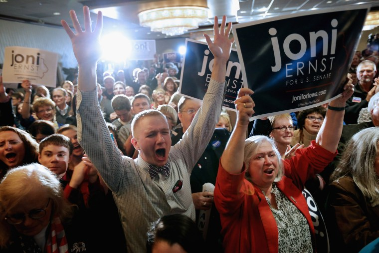 Supporters celebrate after hearing that Republican candidate Joni Ernst won the U.S. Senate race on election night at the Marriott Hotel on Nov. 4, 2014 in West Des Moines, Iowa. (Chip Somodevilla/Getty)