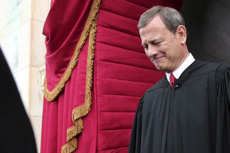 U.S. Supreme Court Chief Justice John Roberts arriving at the West Front of the U.S. Capitol in Washington on Jan. 21, 2013. (Win McNamee/AP)