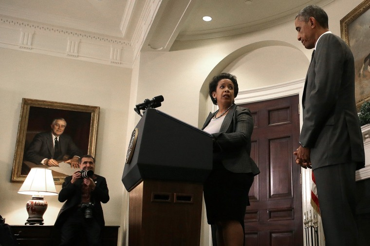 Attorney General nominee Loretta Lynch speaks after U.S. President Barack Obama introduced her as his nominee to replace Eric Holder during a ceremony in the Roosevelt Room of the White House on Nov. 8, 2014. (Win McNamee/Getty)