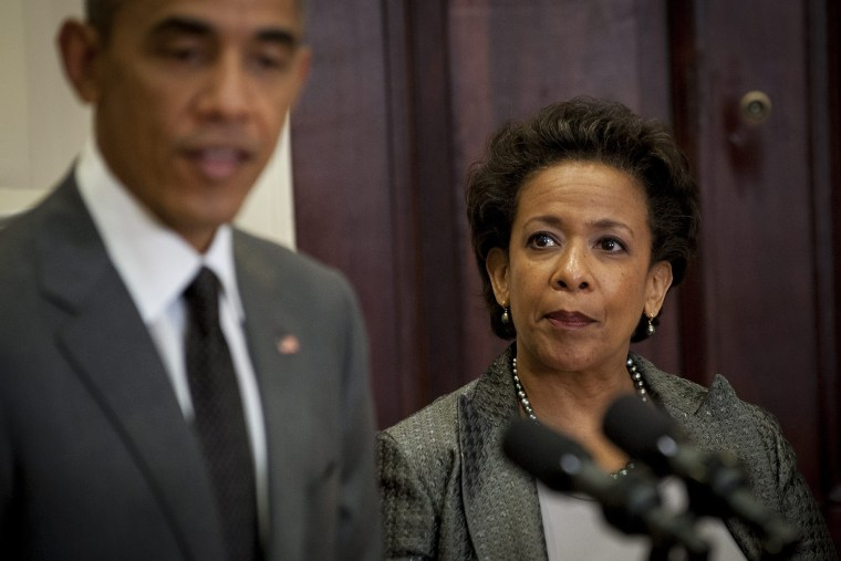 US President Barack Obama nominates New York federal prosecutor Loretta Lynch to become the next attorney general during an announcement in the Roosevelt Room of the West Wing of the White House in Washington, DC, on Nov. 8, 2014.