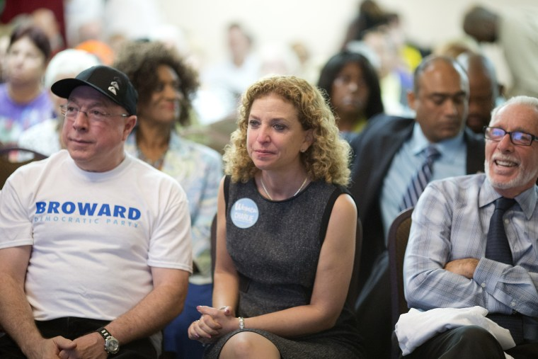 DNC Chairwoman Debbie Wasserman Schultz joined Crist for Governor Campaign supporters for an Early Vote rally on Oct. 21, 2014 in Plantation, Fla. (J Pat Carter/AP)
