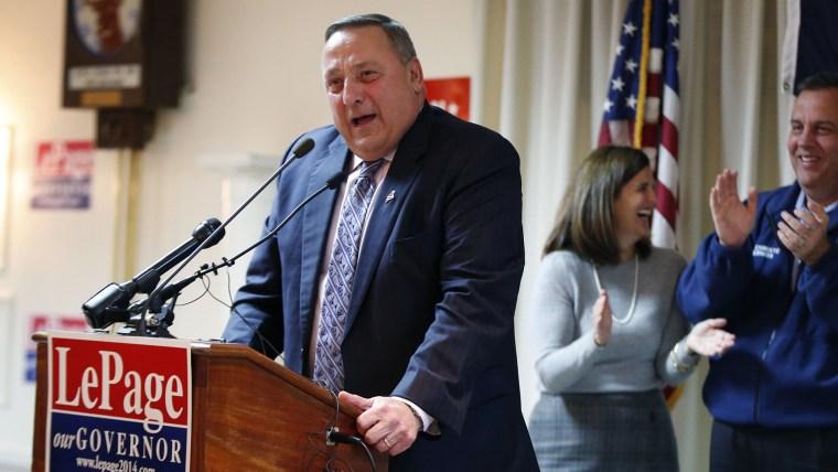 Republican Gov. Paul LePage speaks a campaign rally on Nov. 3, 2014, in Portland, Maine. (Robert F. Bukaty/AP)