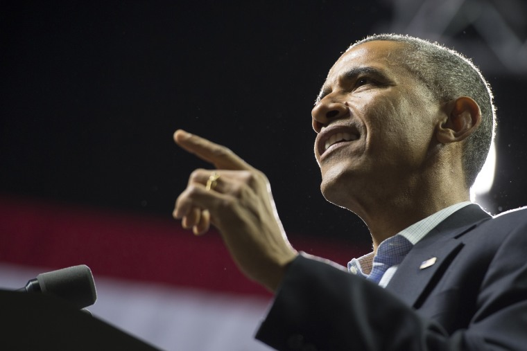 US President Barack Obama speaks at a campaign rally for Tom Wolf, Democratic candidate for Pennsylvania Governor, at Temple University on Nov. 2, 2014. (Saul Loeb/AFP/Getty)