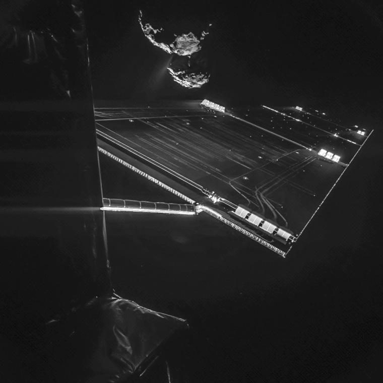 Rosetta mission selfie at 16 km