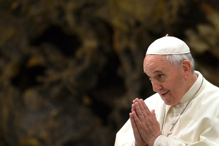 Pope Francis gestures during a meeting on the Vatican on Oct. 25, 2014.