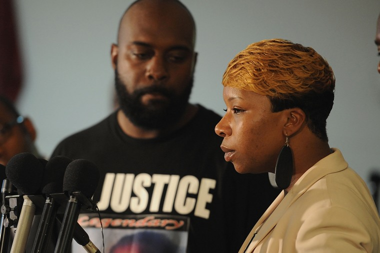 Lesley McSpadden, mother of Michael Brown speaks during a press conference at Jennings Mason Temple Church of God In Christ, on Aug 11, 2014 in Jennings, Mo.