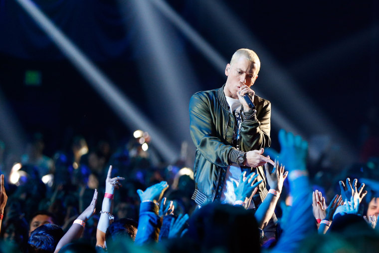 Recording artist Eminem performs onstage at the 2014 MTV Movie Awards at Nokia Theatre L.A. Live on April 13, 2014 in Los Angeles, Calif.