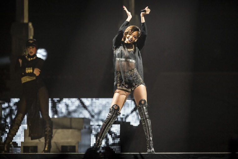 Rihanna performs during her Diamonds World Tour at the Prudential Center in Newark, N.J., April 28, 2013. (Photo by Chad Batka/The New York Times/Redux)