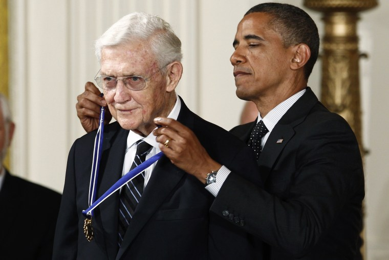President Barack Obama awards a 2012 Presidential Medal of Freedom to former U.S. Assistant Attorney General John Doar during a ceremony in Washington, D.C, May 29, 2012. (Photo by Kevin Lamarque/Reuters)