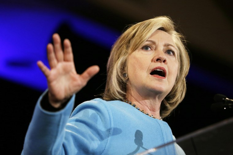 Former Secretary of State Hillary Rodham Clinton speaks at a fundraiser for Democratic congressional candidates on Oct. 20, 2014, in San Francisco, Calif. (Photo by Eric Risberg/AP)