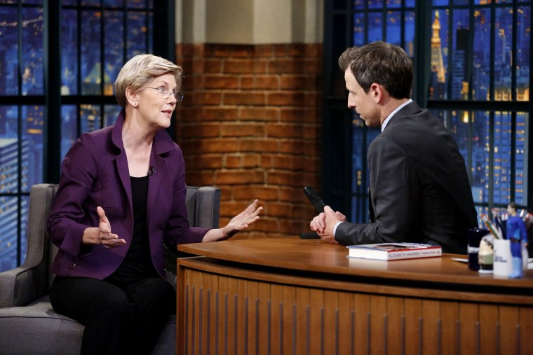 Senator Elizabeth Warren during an interview with host Seth Meyers on Nov. 11, 2014.