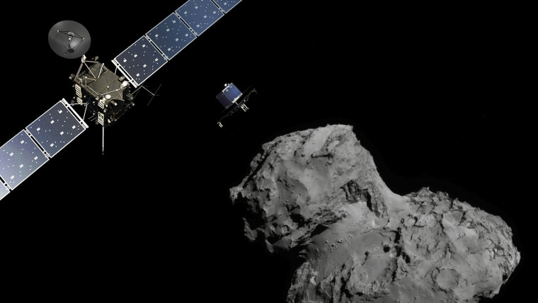 n this November 10, 2014 handout photo illustration provided by the European Space Agency (ESA) the Rosetta probe (L) and Philae lander are pictured above the 67P/Churyumov-Gerasimenko comet.