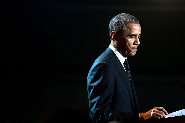 """President Barack Obama speaks at """"A Salute to the Troops: In Performance at the White House"""" on the South Lawn Nov. 6, 2014 in Washington, DC."""