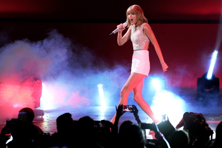 Singer Taylor Swift performs onstage at the Hollywood Bowl on Oct. 24, 2014 in Los Angeles, Calif. (Photo by Kevin Winter/Getty for CBS Radio Inc.)