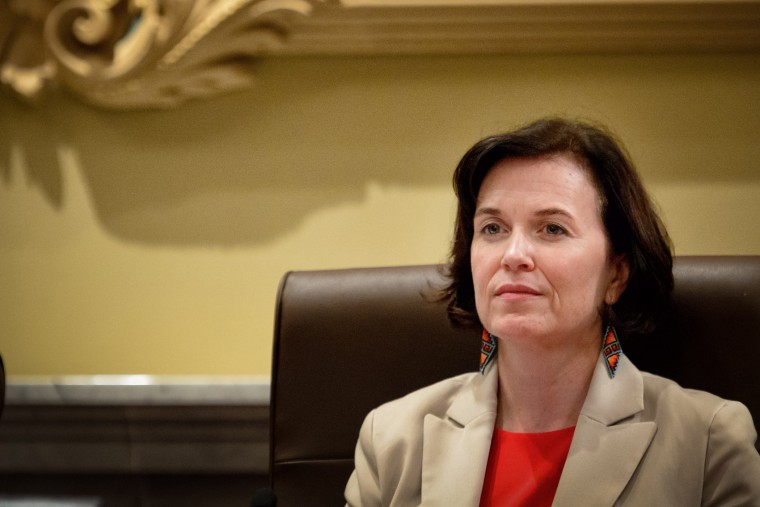 Mayor Betsy Hodges at a Minneapolis City Council meeting on Aug. 29, 2014.