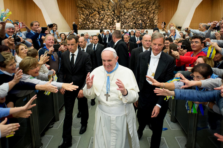 Pope Francis during an audience with the catholic Scouts at the Vatican on Nov. 8, 2014.