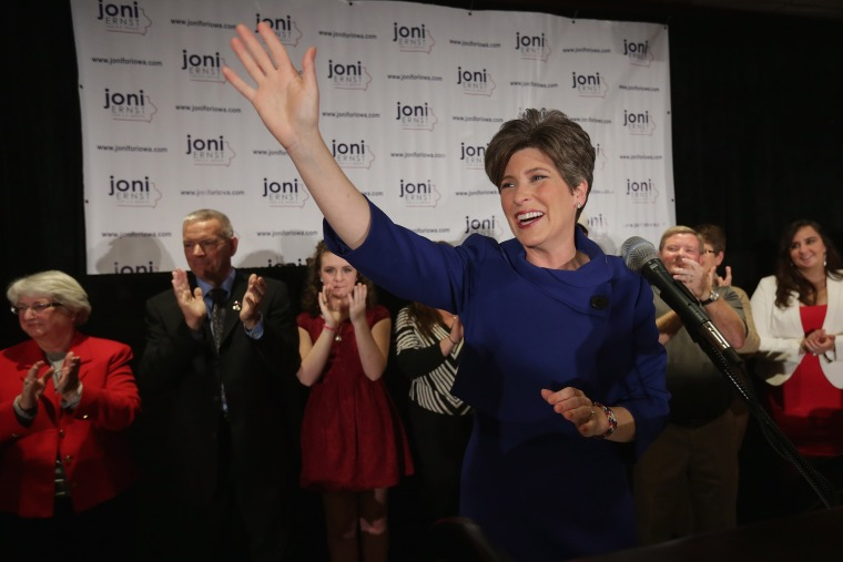 Republican U.S. Senator-elect Joni Ernst thanks her supporters after she won the U.S. Senate race on election night on November 4, 2014 in West Des Moines, Iowa. (Chip Somodevilla/Getty)