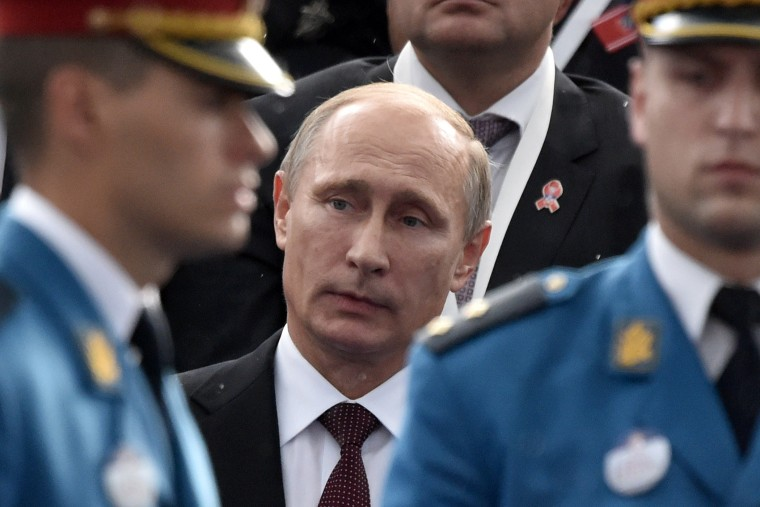 Russian President Vladimir Putin is seen ahead of a military parade in the Serbian capital Belgrade, on Oct. 16, 2014. (Andrej Isakovic/AFP/Getty)