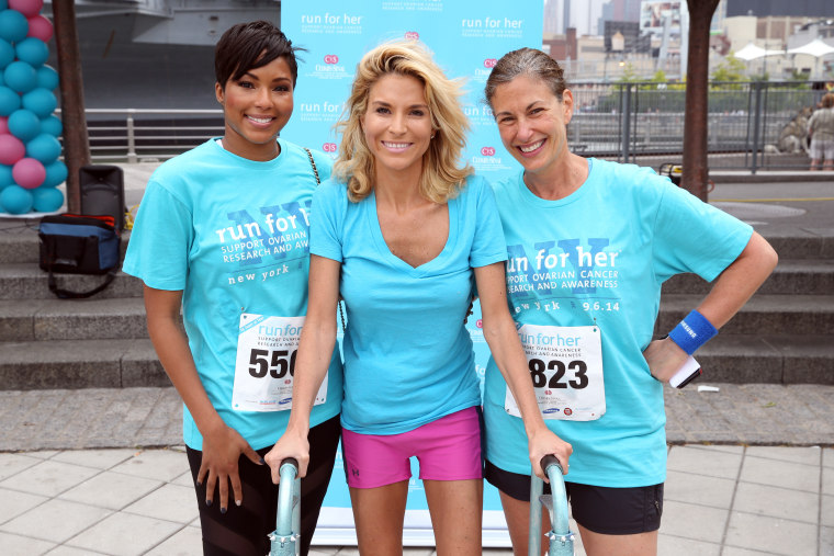 Alicia Quarles, E! News correspondent, Diem Brown, Ovarian cancer advocate and Dr. Karlan, Director of Cedars-Sinai Women'€™s Cancer Program pose for a portrait during Cedars-Sinai 2nd Annual Run For Her New York 5K Run and Friendship Walk on Sept. 6, 201