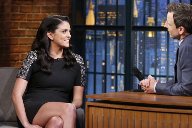 SNL star Cecily Strong during an interview with Late Night host Seth Meyers on Nov. 5, 2014.  Meyers hosted the White House Correspondents dinner in 2011.