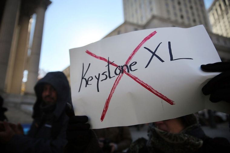 Protesters participate in an anti-Keystone pipeline demonstration in New York's Foley Square on Nov. 18, 2014 in New York City.