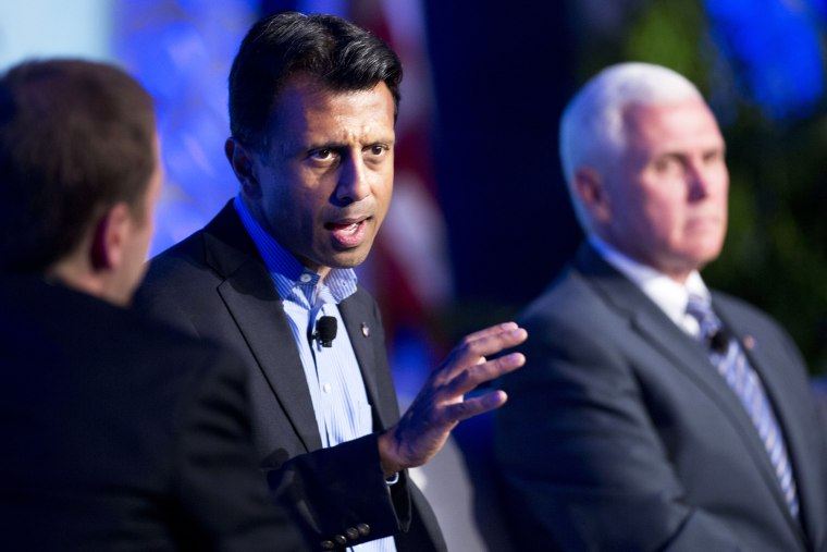 Louisiana Gov. Bobby Jindal talks about recent Republican party gains and the road ahead for their party during a press conference at the Republican governors' conference in Boca Raton, Fla., Nov. 19, 2014.