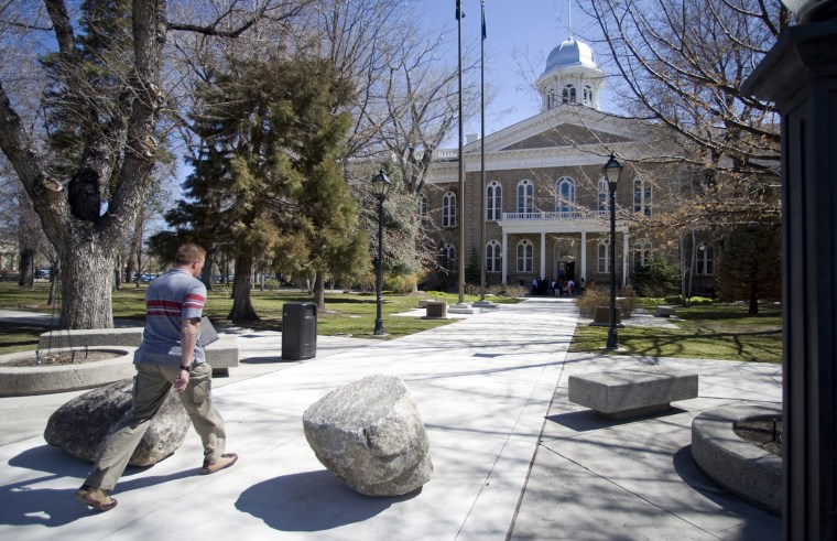 In this April 7, 2010 photo, security changes at the Capitol, in Carson City, Nev., include several boulders placed around the entrances.