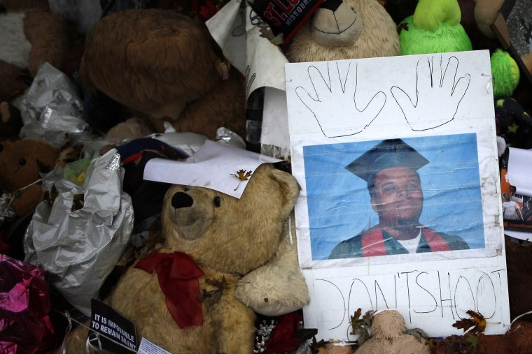 A memorial set up for Michael Brown is seen in Ferguson, Mo., on Oct. 10, 2014. (Photo by Jim Young/Reuters)