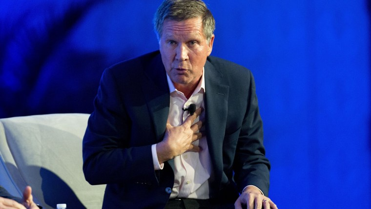 Ohio Gov. John Kasich talks about recent Republican party gains and the road ahead for his party during a press conference at the Republican governors' conference in Boca Raton, Fla. on Nov. 19, 2014. (J Pat Carter/AP)